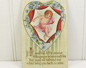 Antique Valentine Post Card, Valentine Heart with Cupid Handwritten Used Postcard, Embossed Blue Daisy Post Card