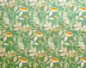 Spring Grass Green Orange Leaf Leaves Quilter's Weight Cotton Print Fabric - Half Yard - Yardage - By the Yard