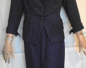 Vintage 40s Blue Wool Fleck Skirt Suit B42