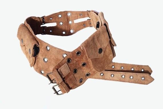 unisex leather utility belt brown suede 5 pocket