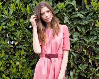 Helen Pink Short Sleeve Gathered Dress