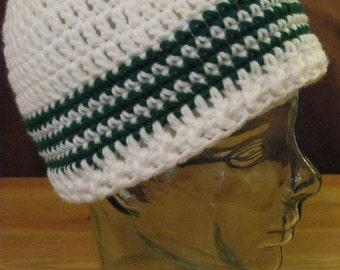 Ladies Men's Skullcap White w Green stripes Crocheted