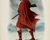 Clan Mac Nachtan (sept McCracken) ~ Scottish Highlander ~ Traditional Tartan and Arms ~ ca 1845 -Giclee print