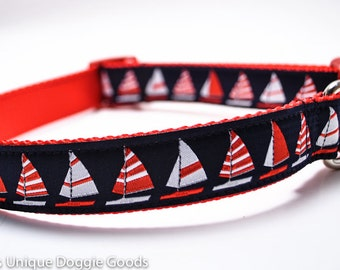Red Navy Sailboats Dog Collar / Nautical Collar / Sailing / Custom Dog Collar