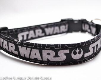 Star Wars Dog Collar / Black and Silver / Custom Dog Collar