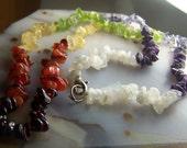 Chakra gemstone chip necklace bead strand - rainbow stones - Garnet Carnelian citrine peridot iolite amethyst rainbow moonstone 18 inch full