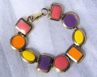 Vintage Gold Tone Multi Colored Mod Bracelet