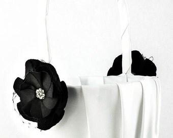 Black Rose Wedding Flowergirl Basket - 80104B