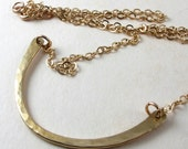 Brass curve necklace, Brass hammered bar on gold filled chain