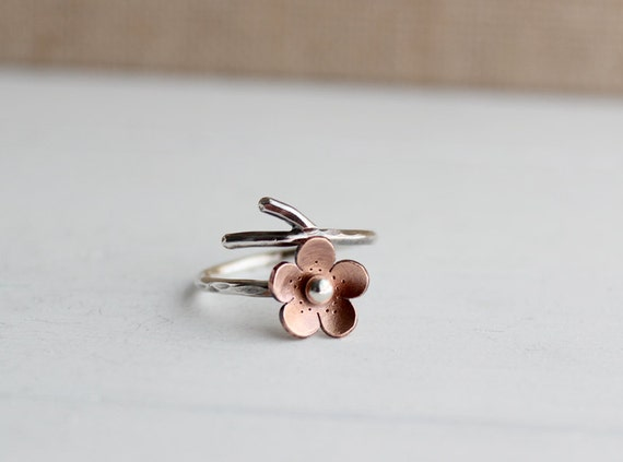 Cherry Blossom Branch Adjustable Ring,Spring Jewelry, Single flower ring  MADEtoORDER, Plum blossom, Twig jewelry,  ROUND Petals