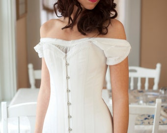 SALE 1910 Titanic Corset Teens Edwardian Corset in white cotton, Ready to ship, 1910's longline reproduction unerpinning
