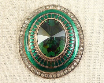 Huge Green Glass Accented Antique Emerald Enameled Silverplate Repurposed Buckle Piece for Repair