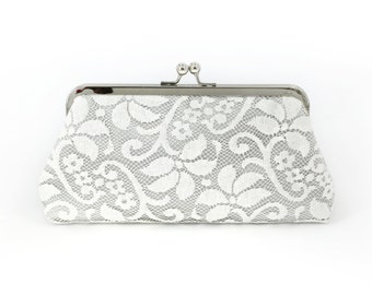 Bridesmaid Lace Clutch in Ash Grey - FLEURETTE