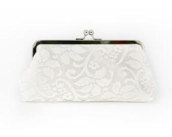 Bridal Ivory Lace Clutch - FLEURETTE