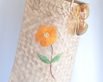 Vintage Hand Woven Straw Tote Bag // Mexican oblong bag // Boho Hippie Chic