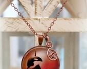 Orca Whale Pendant - Copper & Glass Necklace