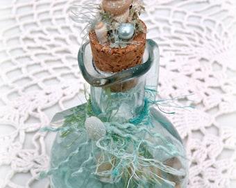 Mermaid Treasure Bottle - Aqua Green Glass Ornament, Beach Decor, Beach Wedding Gift