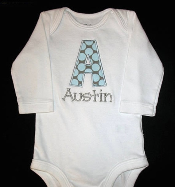 Custom Boutique Personalized APPLIQUE INITIAL and NAME Bodysuit or Shirt - Amy Butler Full Moon Dots Slate Blue - Lt Blue and Gray