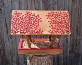 HOLD for Steve P - Covered Bridge Style Open Air Bird Feeder in Twigs & Winter Red Berries - Reclaimed Pine Wood and Tree Branches
