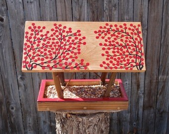 Persnickety Bird Feeder - Handmade Open Air Bird Feeder in Twigs & RED Winter Berries - Reclaimed Pine Wood and Natural Tree Branches