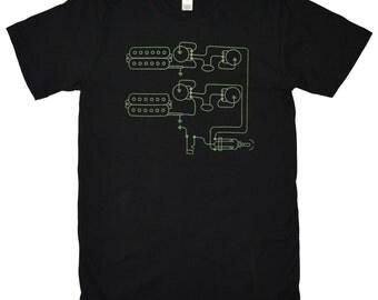 Mens Music Tshirt - Dual Humbuckers Electric Guitar Pickups - Gift for Musician - Black Rocker Tshirt gift for him - Gift for Electrician