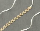 Gold Leaves Bridal Belt | Gold Skinny Wedding Belt | Gold Leaf Rhinestone Sash Belt [Gilded Ivy Sash: Gold]