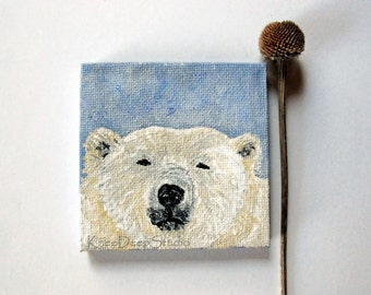 Polar Bear Painting Miniature Original Fine Art 3x3 Animal Totem mini acrylic on canvas wildlife portrait white bear art endangered species