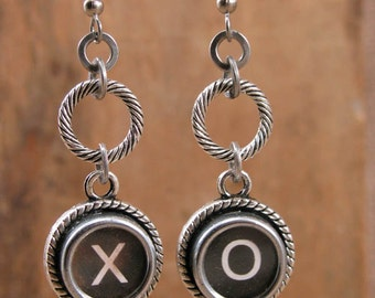 Love Themed Jewelry - Typewriter Key Jewelry - Hugs and Kisses  - Love - Authentic Black X and O Typewriter Key Dangle Earrings