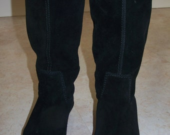 10 m Boots Black Leather large suede Boots size 10 m women USA