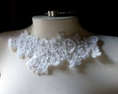 SINGLE Beaded Lace Applique  in IVORY for Bridal, Headbands, Costume Design IA 55