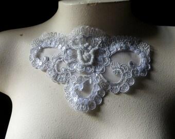SILVER Beaded Lace Applique Metallic for Lyrical Dance, Ballet, Bridal, Costume Design BRI 7