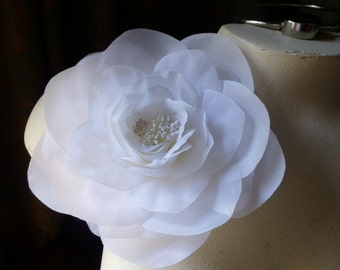 Silk Rose Camellia in Snow White for Bridal, Hats, Corsages MF 127white