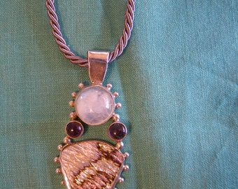 SALE -- Abalone Moonstone Amethyst Sterling Pendant Necklace