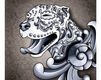 "SALE Regularly 14.95 - Ornamental Pit Bull - Black and Grey Filigree Pitbull Dog 8"" x 10"" Art Print"