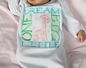 Dream Big Little One Layette Gown or Bodysuit, Newborn Layette Gown, Infant Layette Gown,  Baby Shower Gift, Take Home Outfit, LDM