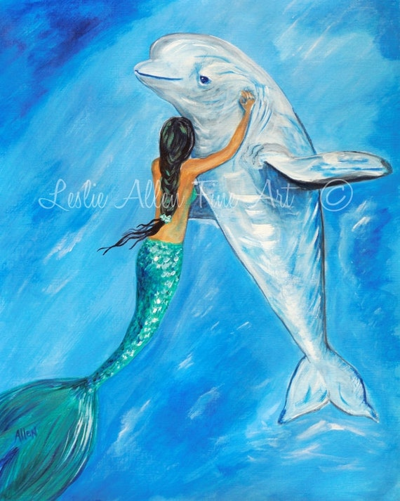 Mermaid Art Mermaid Wall Art Mermaid Art Print Mermaids Beluga