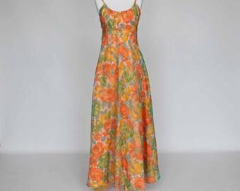 70's Prom Dress / Spaghetti Strap / Empire Waist / Peach Floral / Small