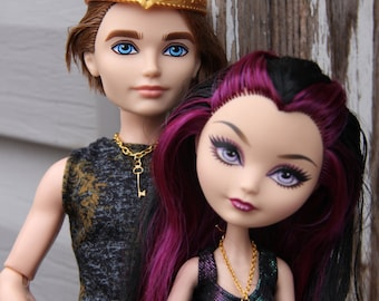 Key to My Heart Couple's Doll Jewelry Necklace Set fits Barbie Monster Ever After High 1/6th Scale dolls