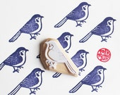 blue bird hand carved rubber stamp. woodland animal stamp. diy wedding birthday christmas card making. party gift wrapping. holiday crafts