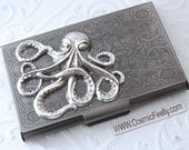 Antiqued Silver Octopus Business Card Case Steampunk Card Case Gothic Victorian Card Case Metal Card Case Nautical Card Case Silver Metal