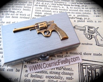 Gun Pill Box Cowboy Pill Case Tiny Size Silver Tone Metal Case New Steampunk Pill Box Wild West Pillbox Cowboy Gun Pillbox Small Pill Case