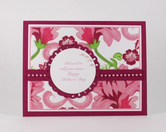 Items similar to happy mothers day or birthday pink damask for Classy mothers day cards