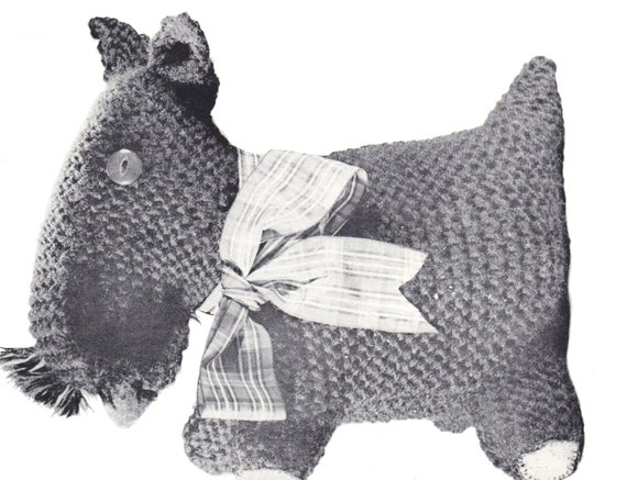 Items similar to PDF Pattern / Knitting pattern Toy Scottie Dog / 8ply yarn /...