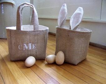 burlap easter basket / easter decoration / embroidered / baskets / monogram / personalized easter basket / bunny / rabbit / name