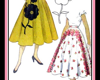 Vintage 1951-Circle Twirl Skirt-Sewing Pattern-Over-Sized Flower Appliqué-Transfer Included-Lovely for Border Prints & Felt-Size 14-Rare