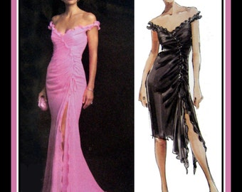 HOLLYWOOD GLAMOUR-Evening Gown-Cocktail Dress-Vogue Designer Sewing Pattern-Fitted-Boned Bodice-Deep V Neckline-Train-Uncut-Size 12-16-Rare