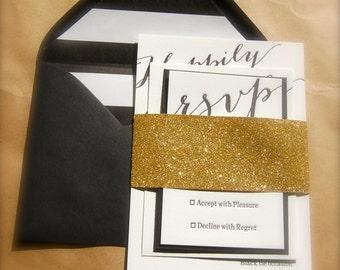 Gold Black and White Ivory Letterpress Wedding Invitations, Bold Typography Wedding Invite, Gold Glitter Belly Band, Striped Wedding Invite
