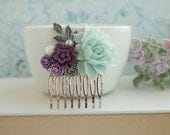 Mint Rose, Dark Purple, Grey, Gray, Amethyst, Mint Cream Flowers Silver Plated Hair Comb. Bridesmaid Gifts Mint Wedding, Purple, Mint Green