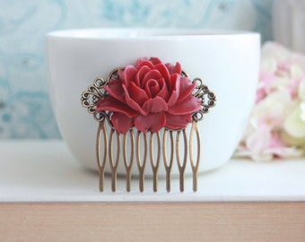 Red Rose Flower Antiqued Brass Hair Comb. Bridesmaids Gifts Winter Red Wedding Hair Comb. Rustic Red Wedding Bridal Hair Comb. Vintage Style
