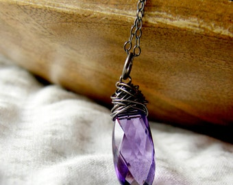 Sterling Silver Wirewrapped Amethyst Gemstone Necklace